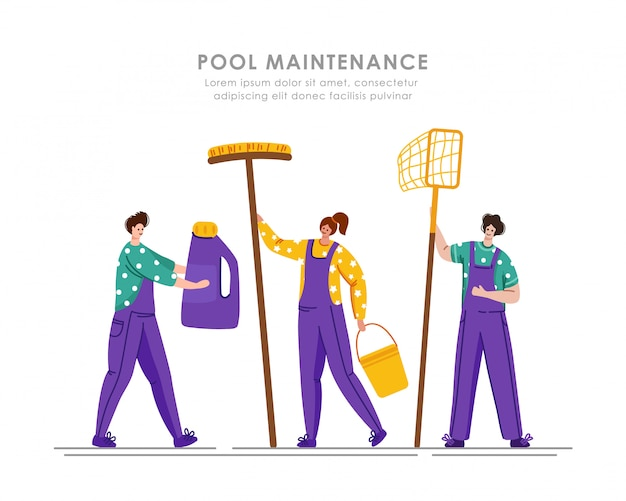 Pool maintenance or cleaning service, group of people in uniform, cleaning products for swimming pool
