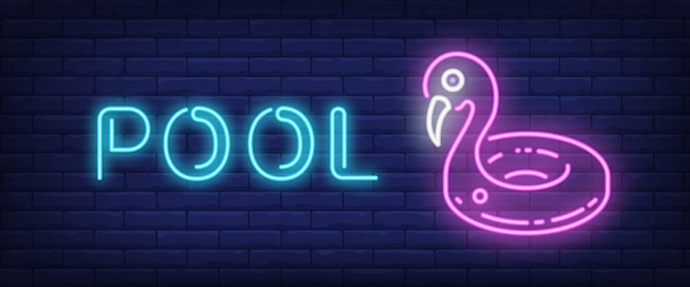 Pool neon text with swimming ring