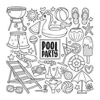 Pool party drawn doodle coloring