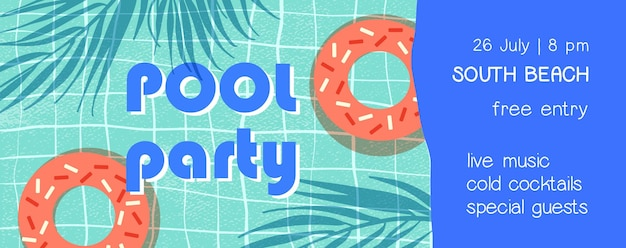 Pool party flat banner template