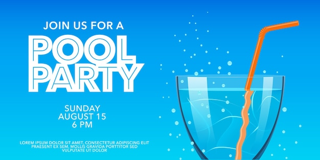 Pool party horizontal banner with drinking glass. summer party invitation