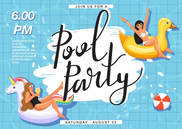 Pool party invitation banner