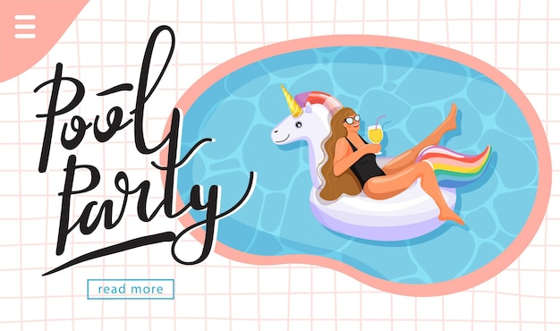 Pool party invitation landing page template