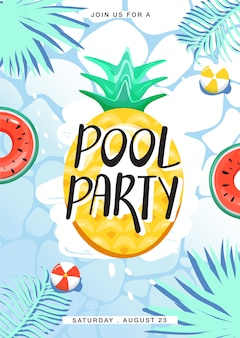 Pool party invitation poster. various inflatable swimming pool rings in swimming pool. creative lettering, water surface and palm leaves. summer rest and vacation. vector illustration.
