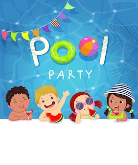 Pool party invitation template card with kids enjoying in swimming pool.
