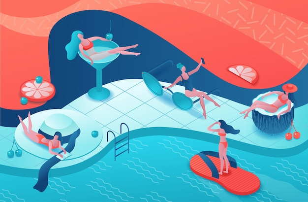 Pool party isometric 3d