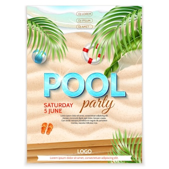 プールパーティーのポスター海辺の砂紺碧の波熱帯の葉インフレータブルボールビーチサンダルイフェブイ