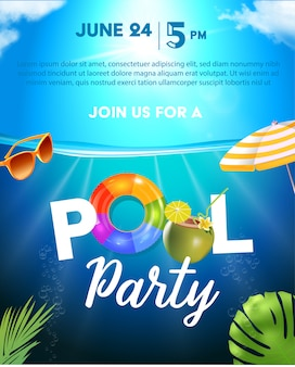 Pool party poster template. background with pool surface, palm leaves, beach umbrella and rubber ball. realistic inflatable rainbow and orange rings. illustration of invitation to nightclub.