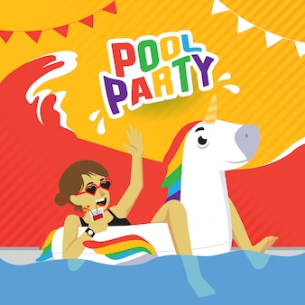 Pool party poster with girl on inflatable unicorn