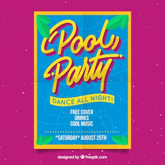 Pool party poster with palm leaves