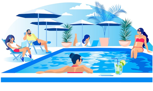 Pool party rest summertime illustration