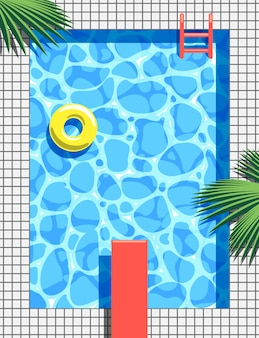 Pool party  summer illustration. top view.