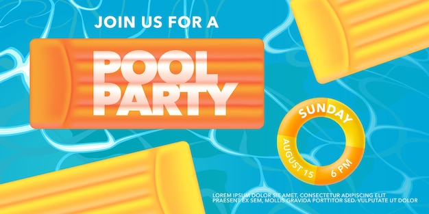 Pool party with inflatable ring in the swimming pool