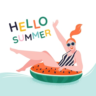 Pool partyyoung girl sitting on watermelon inflatable ring ready to swim hello summer