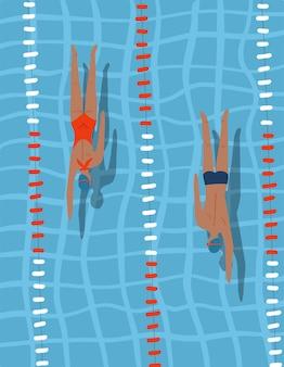레인 라인 내부의 푸른 물에서 수영하는 스포츠 경쟁에서 수영장 경주 사람들 수영 선수