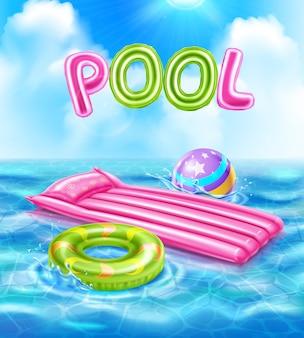 水泳イラスト用のインフレータブルアクセサリーとプールの現実的なポスター