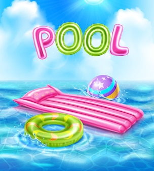 Pool realistic poster with inflatable accessories for swimming illustration