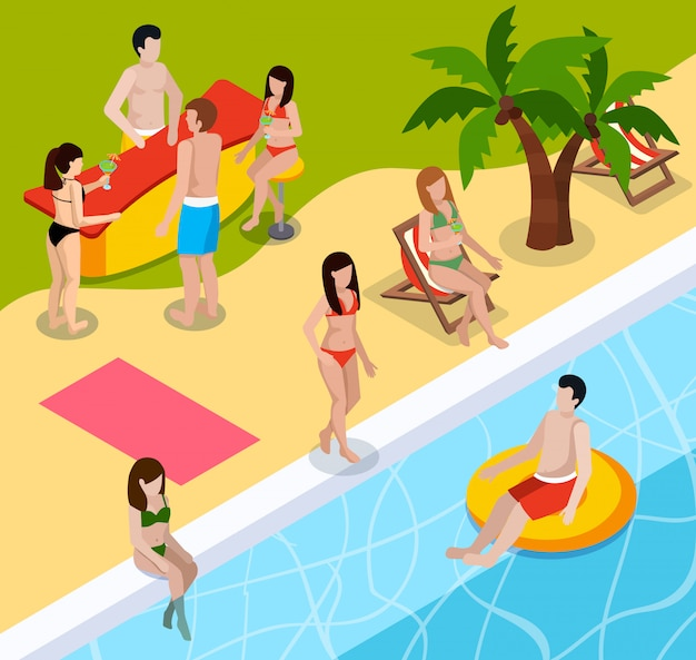 Pool rest isometric composition