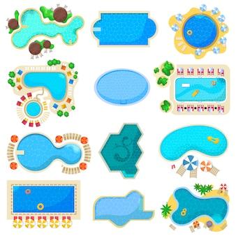 Pool set vector blue water poolside of hotel resort on summer vocation illustration set