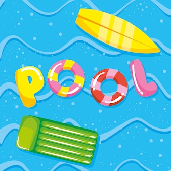 Pool summer and vacation cartoons