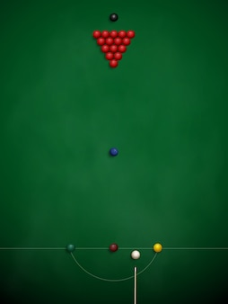 Pool table with balls on the cloth