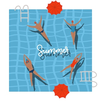 Pool top view with umbrellas summer holidays people swimming relax time in swimming pool