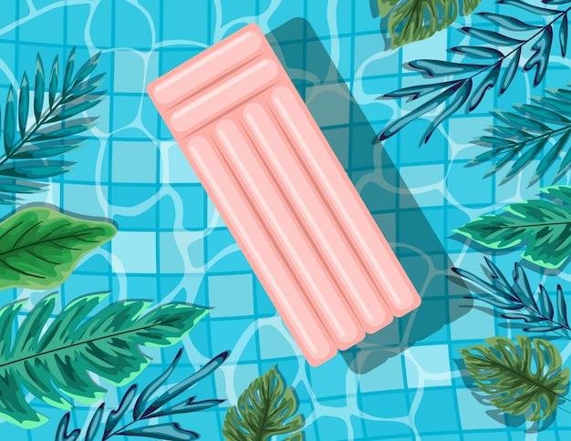 Дизайн бассейна с листьями и поплавком, летний отдых