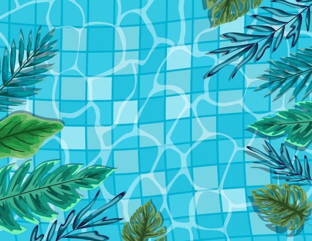 Бассейн с листьями, вид сверху, летние каникулы