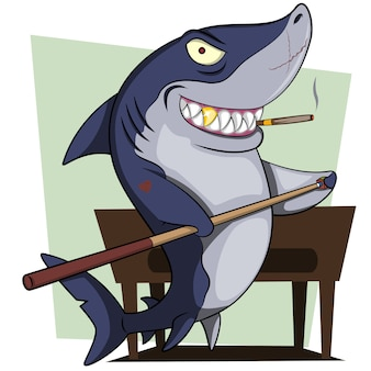 Pools shark cartoon illustration