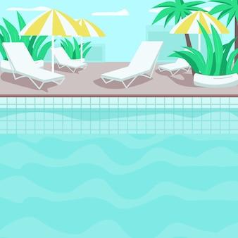 プールサイドフラットカラーイラスト。住宅ホテル。プレミアムトロピカルリゾート。ヤシと植物。澄んだ青い水。ラウンジャーとパラソルの背景を持つプール2 d漫画風景