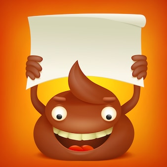 Poop emoticon cartoon character with paper banner.