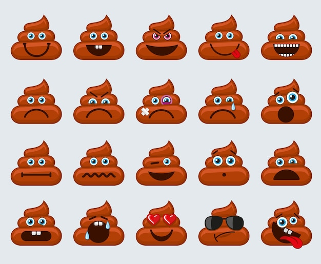Poop emoticons smileys icons
