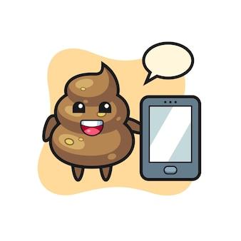Мультфильм какашки, держащий смартфон, милый стильный дизайн для футболки, стикер, элемент логотипа