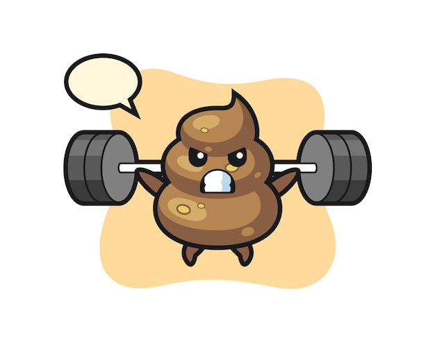 Poop mascot cartoon with a barbell , cute style design for t shirt, sticker, logo element