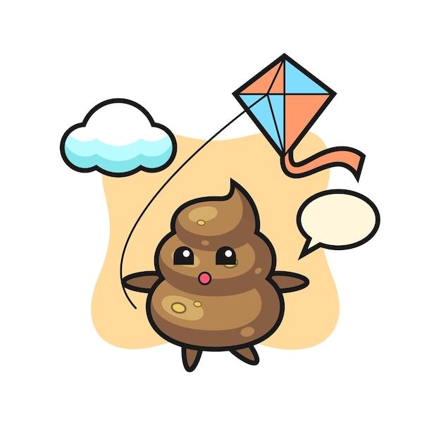 Иллюстрация талисмана poop играет воздушного змея, милый стиль дизайна для футболки, наклейки, элемента логотипа
