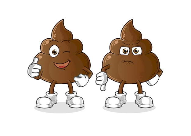 The poop thumbs up and thumbs down. cartoon mascot