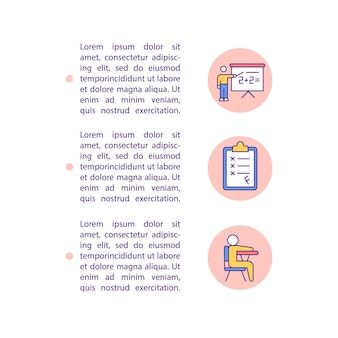 Плоские значки линии концепции академической успеваемости с текстом