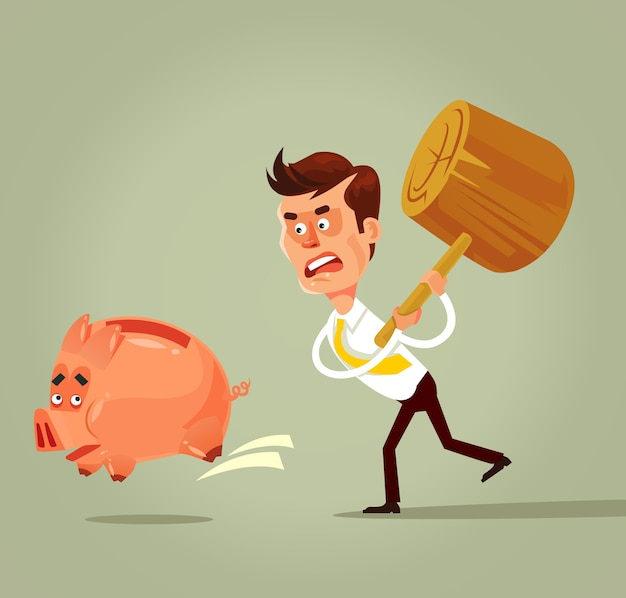 Poor bankrupt businessman office worker character running chase piggy bank with hammer. financial crisis problems