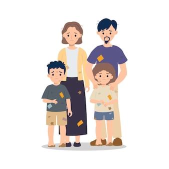 더럽고 패치된 옷에 가난한 가족 개념 평면 스타일 만화 벡터