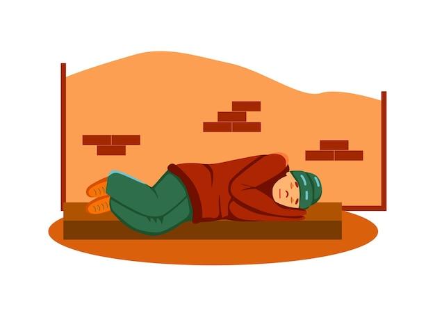 Бедный бездомный нищий спит на тротуаре