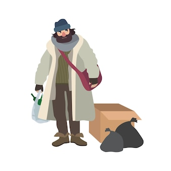 Poor homeless man dressed in ragged clothes standing beside carton box and garbage bags and holding pouch full of glass bottles. cartoon character isolated on white background. vector illustration.