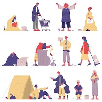 가난한 노숙자들. 배고프고 더러운 거지 캐릭터, 노숙자 성인은 도움과 돈 벡터 일러스트레이션 세트가 필요합니다. 노숙자 거지. 부랑자와 부랑자 자고 있어, panhandler shaggy