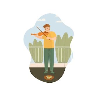 거리에서 도움을 구걸하는 바이올린을 연주하는 가난한 남자 음악가