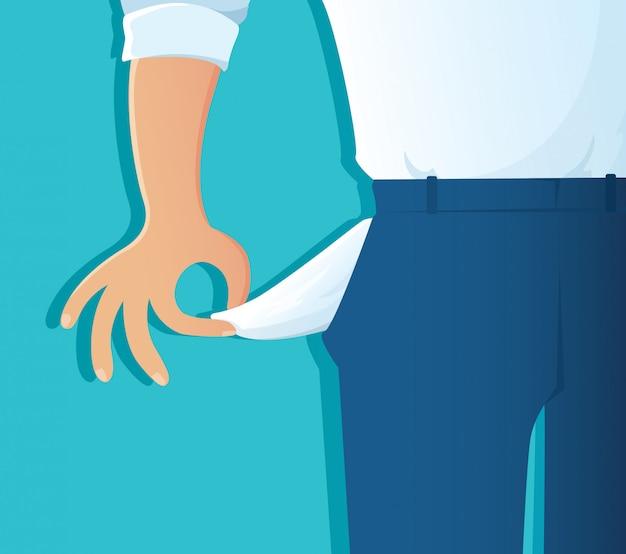 Бедный человек показывает свои пустые карманы на синем