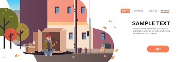 가난한 사람이 앉아 골판지 상자 남자 도움 거지 들고 종이 컵 노숙자 도시 거리 건물 도시 구걸