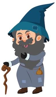 Poor olf man in medieval cartoon character