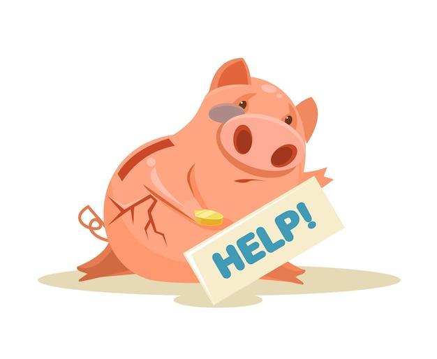 Poor piggy bank flat cartoon illustration