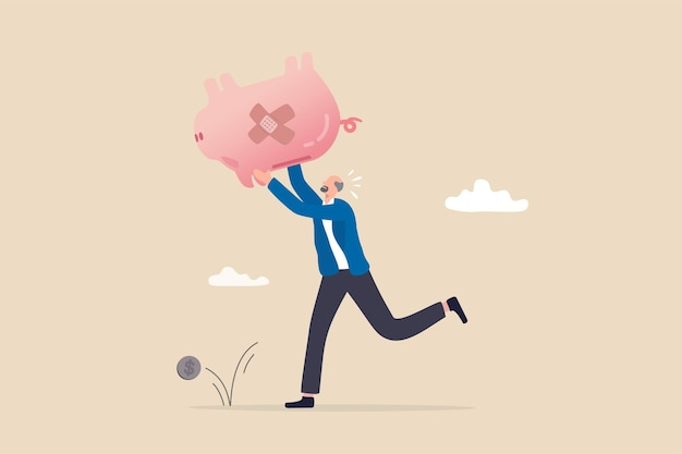 Poor retiree old man, broke losing all pension or retirement funds, financial problem, poverty or bankruptcy after retired concept, depressed worried old man shaking piggybank pension with no money.
