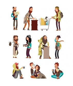 Poor unhappy homeless cartoon people needing financial help. vector characters set