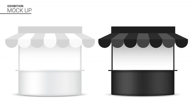 リアルなキオスクディスプレイpopブースの3dモックアップ